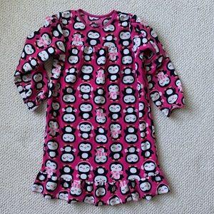 Carters girls large pink fleece penguin nightgown